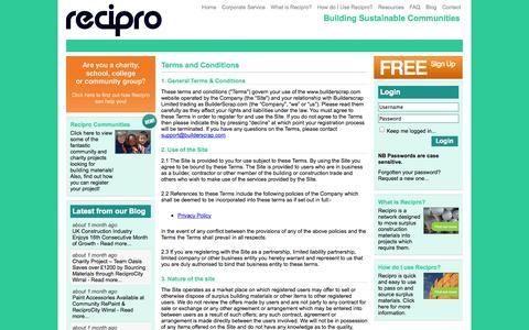 Screenshot of Terms Page recipro-uk.com - recipro-uk.com   Free Building Materials   Recycling   Builders Surplus Supply   Construction Trade - captured Oct. 7, 2014