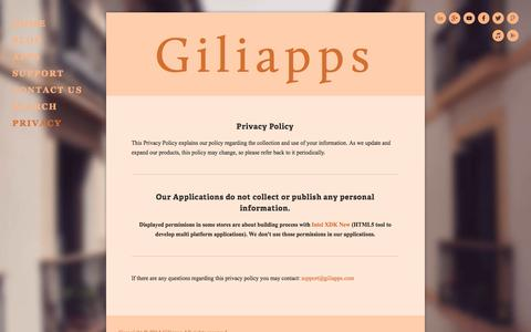 Screenshot of Privacy Page giliapps.com - Giliapps | Privacy - captured Sept. 29, 2014