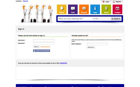 Screenshot of Login Page tyfra.co.uk - Member Login - Tyfra Trading Free Local Classifieds - captured Oct. 26, 2014