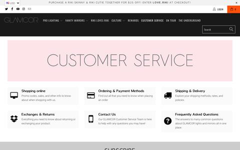 Screenshot of Support Page glamcor.com - Customer Service - glamcor.com - captured July 19, 2018