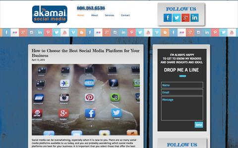 Screenshot of Home Page akamaisocialmedia.com - Akamai Social Media Maui - captured Sept. 30, 2014