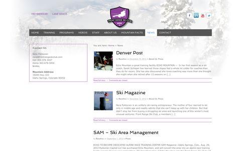 Screenshot of Press Page frontrangeskiclub.com - News | Front Range Ski Club - captured Sept. 30, 2014