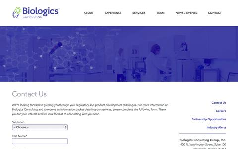 Screenshot of Contact Page biologicsconsulting.com - Biologics | Biosimilars | Pharmaceuticals & Medical Devices FDA Regulatory and Product Development Consulting Services | Chemistry | Manufacturing & Controls | Clinical Trial Planning & Oversight | US Agent Services from Biologics Consulting - captured Feb. 7, 2016