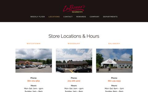Screenshot of Locations Page labonnes.com - Locations and Hours — LaBonne's Markets - captured July 11, 2017