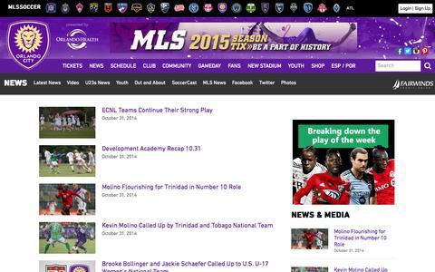 Screenshot of Press Page orlandocitysc.com - News | Orlando City Soccer Club - captured Nov. 1, 2014