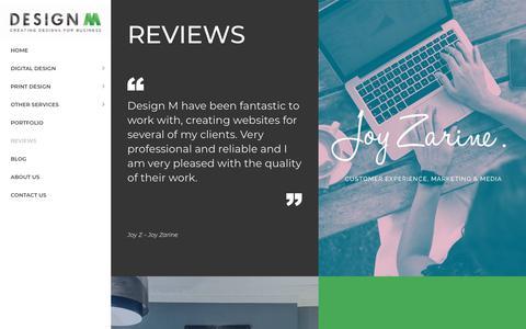 Screenshot of Testimonials Page design-m.co.uk - Reviews   Testimonials   Design M   Website Design   Creative Agency - captured Aug. 6, 2018
