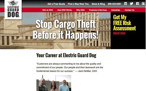 Screenshot of Jobs Page electricguarddog.com - Your Career at - Electric Guard Dog - captured Nov. 5, 2015