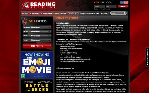 Screenshot of Privacy Page readingcinemas.com.au - Privacy Policy | Reading Cinemas AU - captured Sept. 19, 2017