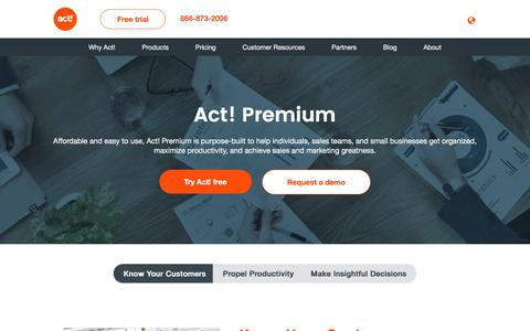 Screenshot of Products Page act.com - Customer & Contact Management Software Products | Act! - captured Sept. 6, 2016