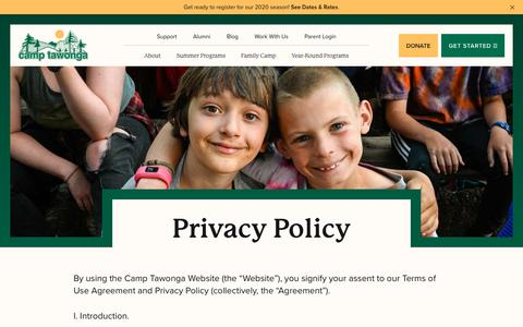 Screenshot of Privacy Page tawonga.org - Privacy Policy - Camp Tawonga - captured Nov. 17, 2019