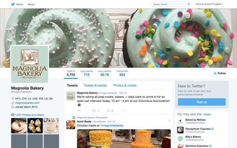 Screenshot of Twitter Page twitter.com - Magnolia Bakery (@magnoliabakery)   Twitter - captured Oct. 14, 2015