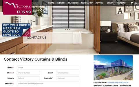 Screenshot of Contact Page victory.com.au - Contact Victory Curtains and Blinds 131399 - Victory Curtains & Blinds - captured Oct. 26, 2017