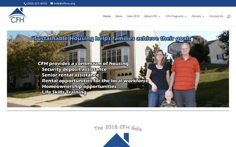 """Screenshot of Home Page cfhva.org - CFH - Catholics for Housing  