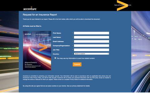 Screenshot of Landing Page accenture.com - Advanced Analytics for Insurers - captured Nov. 16, 2016