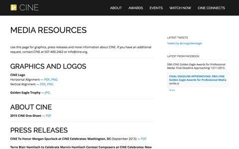 Screenshot of Press Page cine.org - Media Resources | CINE - captured Dec. 4, 2015
