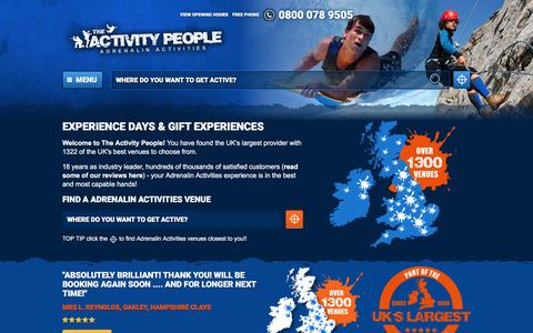 Screenshot of Home Page theactivitypeople.co.uk - Experience Days & Gift Experiences   The Activity People - Driving experiences, Team building, Activity days - captured Aug. 13, 2016