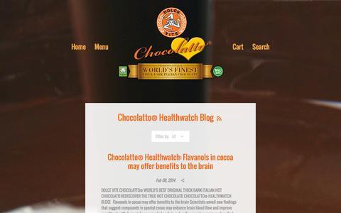 Screenshot of Press Page dolceviteforeveryoung.com - Chocolatto® Healthwatch Blog – Dolce Vite Chocolatto World's Best Thick Dark Italian Hot Chocolate! No GMOs! - captured Nov. 3, 2014