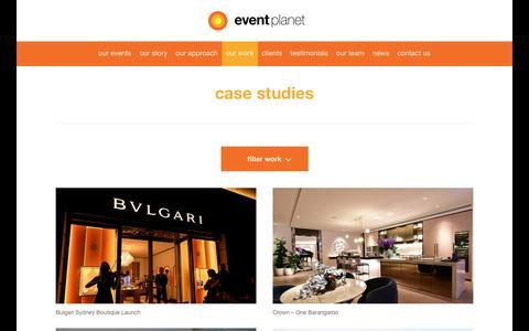 Screenshot of Case Studies Page eventplanet.com.au - Case Studies - Corporate Event Management Company    Event Planet - captured Nov. 5, 2018