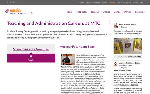 Screenshot of Jobs Page musictrainingcenter.com - Careers at Music Training Center | Music Training Center - captured May 12, 2018