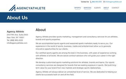 Screenshot of About Page agencyathlete.com - about - Agency Athlete - captured Nov. 21, 2018