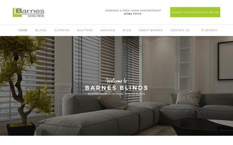 Screenshot of Home Page barnesblinds.co.uk - Made to measure blinds Stoke-on-Trent | Barnes Window Blinds - captured Aug. 1, 2018