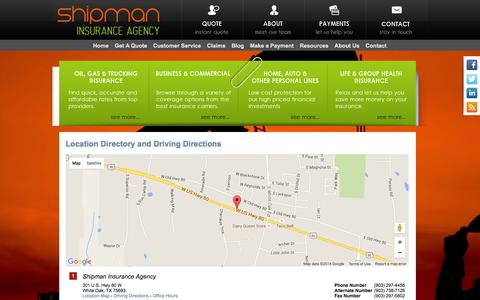Screenshot of Locations Page shipmaninsurance.com - Shipman Insurance Agency Locations and Driving Directions - captured Feb. 28, 2016