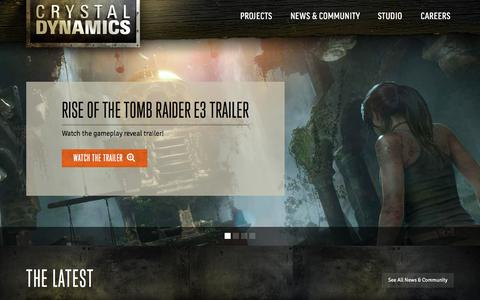 Screenshot of Home Page crystald.com - Crystal Dynamics - captured Sept. 18, 2015