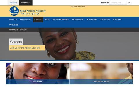 Screenshot of Jobs Page kaa.go.ke - Kenya Airports Authority : Careers - captured Sept. 23, 2018