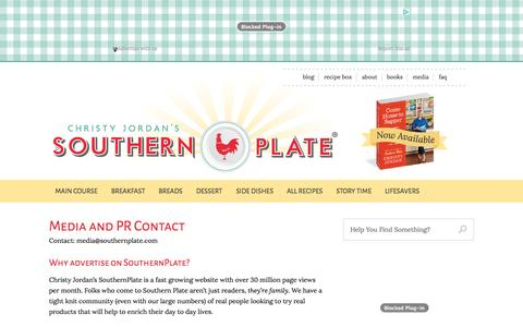 Screenshot of Press Page southernplate.com - Media and PR Contact   Southern Plate - captured Nov. 4, 2014