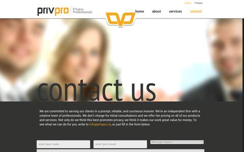 Screenshot of Contact Page privpro.ca - PrivPro  | Contact - captured Oct. 8, 2014