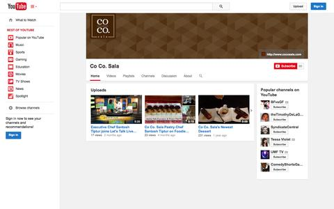 Screenshot of YouTube Page youtube.com - Co Co. Sala  - YouTube - captured Oct. 23, 2014
