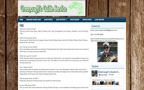 Screenshot of FAQ Page catchbass.net - Branson Fishing Guide - Table Rock and Taneycomo Guide Service - captured June 21, 2016