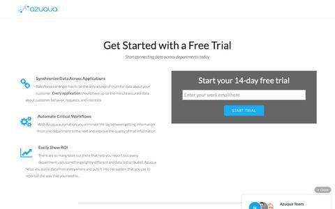 Screenshot of Trial Page azuqua.com - Trial | Azuqua - captured July 3, 2016