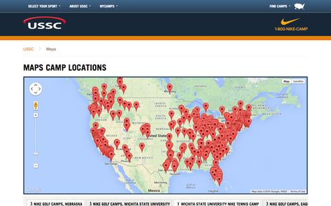 Screenshot of Maps & Directions Page ussportscamps.com - Maps Camp Locations - NIKE Sports Camps - captured Oct. 29, 2014