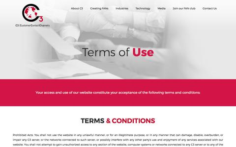 Screenshot of Terms Page c3connect.com - C3 | Contact Center Services | Terms Of Use - captured Sept. 25, 2018