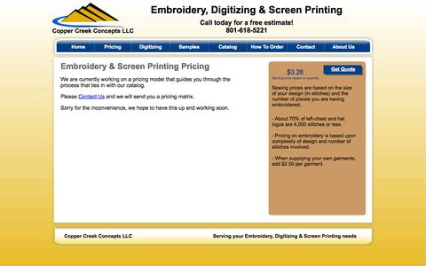 Screenshot of Pricing Page coppercreekconcepts.com - Copper Creek Concepts - Embroidery Pricing - captured Sept. 30, 2014