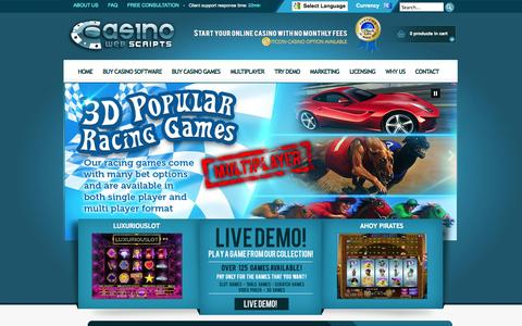 Screenshot of Home Page casinowebscripts.com - CasinoWebScripts - Online Casino Software and Casino Games Provider - Turnkey Gambling Solutions - captured Sept. 19, 2014