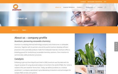 Screenshot of About Page avantium.com - About us - Avantium - captured July 4, 2016