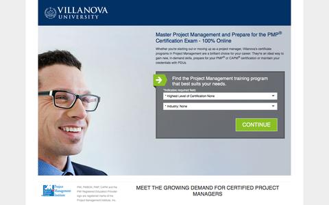 Screenshot of Landing Page villanovau.com - Project Management Certification Online Training | Villanova University - captured Dec. 21, 2015