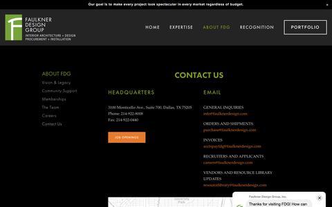 Screenshot of Contact Page faulknerdesign.com - Faulkner Design Group — Contact Us - captured Sept. 21, 2019
