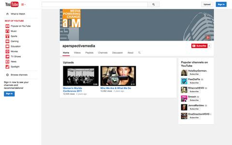 Screenshot of YouTube Page youtube.com - aperspectivemedia  - YouTube - captured Oct. 23, 2014