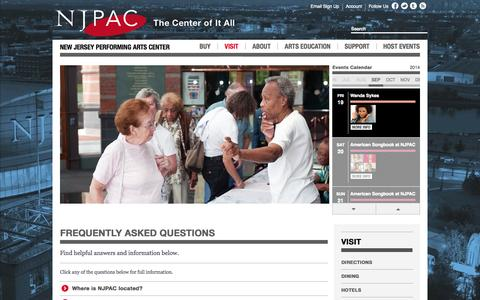 Screenshot of FAQ Page njpac.org - New Jersey Performing Arts Center :: Frequently Asked Questions - captured Sept. 18, 2014