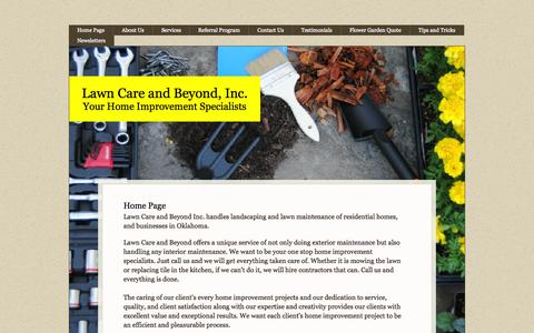 Screenshot of Home Page lawncareandbeyond.com - Lawn Care and Beyond - captured Oct. 2, 2014