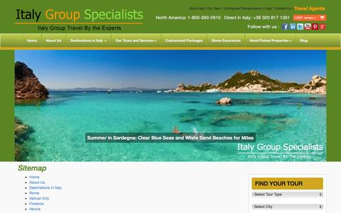 Screenshot of Site Map Page italygroupspecialists.com - Italy Group Specialists - captured Jan. 9, 2016