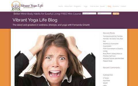 Screenshot of Blog vibrantyogalife.com - Blog - Vibrant Yoga Life - captured Oct. 26, 2014