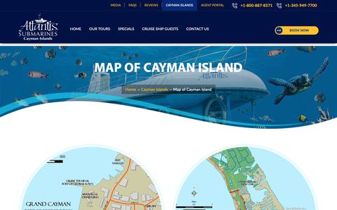 Screenshot of Maps & Directions Page caymanislandssubmarines.com - Cayman Island Map, Grand Cayman Map, Seven Mile Beach Map, George Town Map, Caribbean Islands Map - captured April 16, 2019
