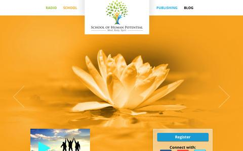 Screenshot of Home Page schoolhp.com - School of Human Potential: Mind, Body, Spirit | Empowering the growth of the modern individual! - captured Jan. 23, 2015
