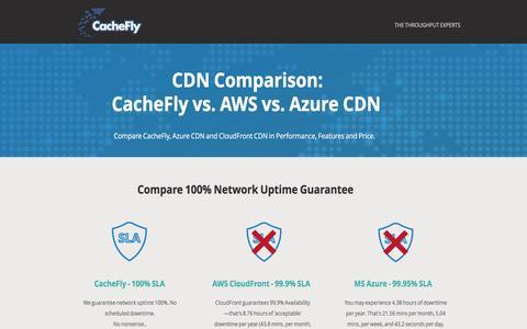 Screenshot of Landing Page cachefly.com - CDN Comparison | CacheFly vs. AWS CDN and Azure CDN - captured April 12, 2017