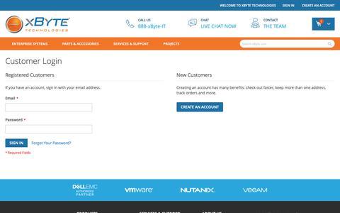 Screenshot of Login Page xbyte.com - Customer Login - captured Dec. 17, 2018