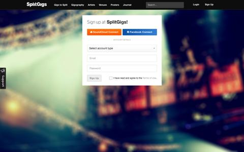 Screenshot of Signup Page splitgigs.com - SplitGigs | The easiest way to find gigs to play - captured Sept. 17, 2014